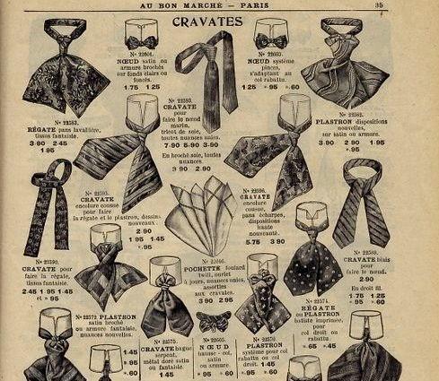 Les différents types de cravates - Publicité du  Bon Marché  au début du XXème siècle