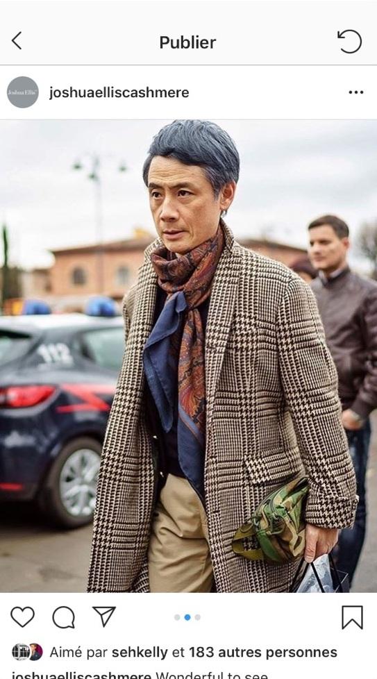 Magnifique manteau Prince De Galles de chez Still Latino. Le mannequin n'est autre que Mr Tatsuya Nakamura, acheteur de Beams, une très très belle marque Japonaise.