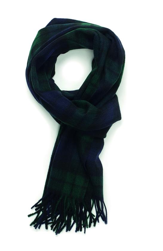 Écharpe 100% cachemire en tartan bleu marine - vert. Un classique que l'on adore !