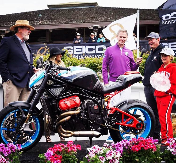 Owner John Bennett accepts the Industry Award at The Quail Motorcycle Gathering in Carmel, California.