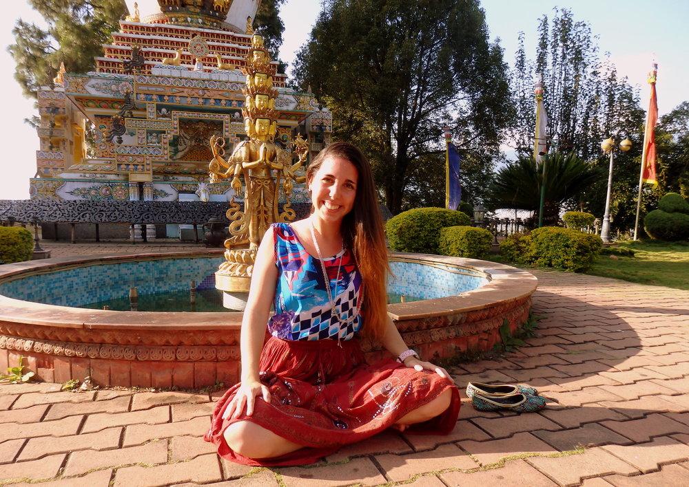 En el Jardín de Stupas del Monasterio Kopan, después del retiro de LAM RIM.
