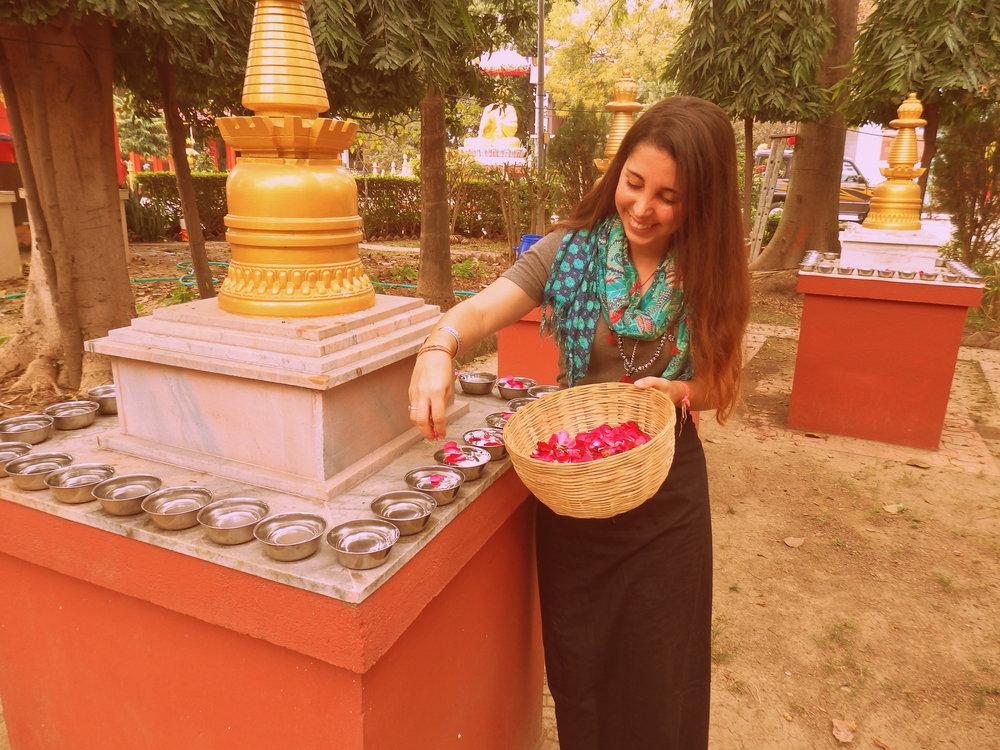 Haciendo ofrendas en el Jardín de Stupas de Root Institute, Bodhgaya, India.