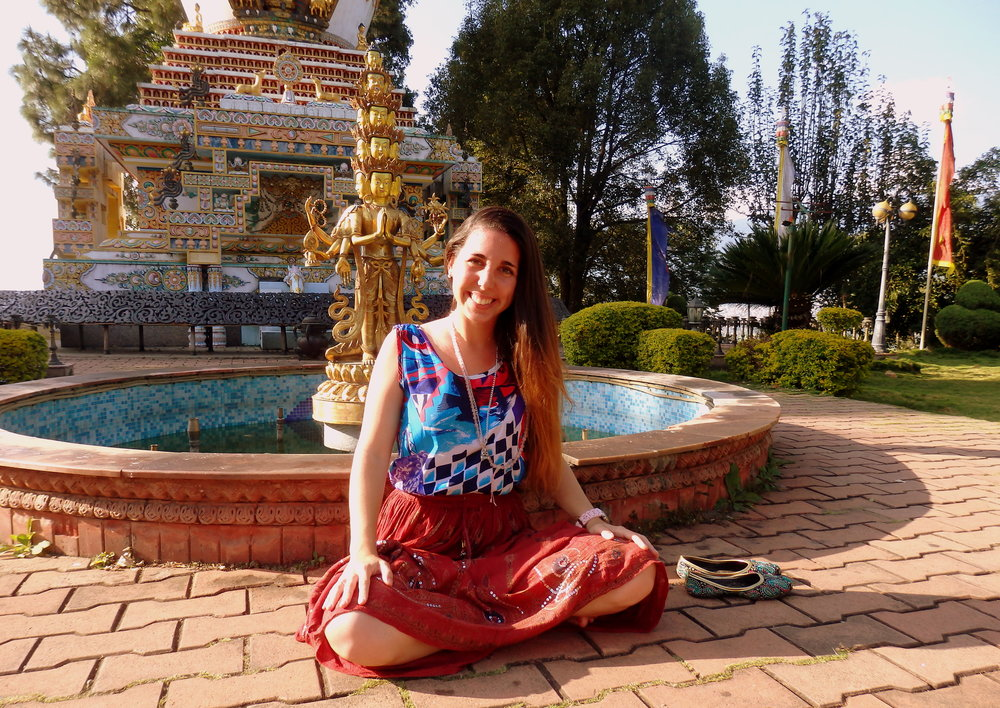 At the Stupa Garden in Kopan Monastery, after the three month LAM RIM Retreat.