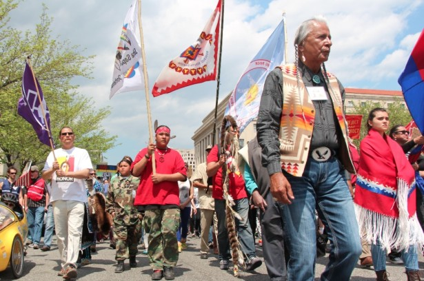 Members of the Cowboy Indian Alliance march through Washington, D.C., last week. (WNV / Kristin Moe)
