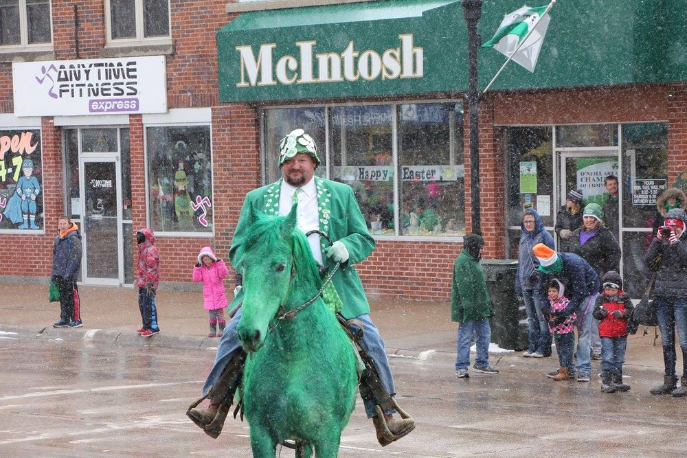 That's Leo Matthews, second generation horse rider in the annual St. Patrick's Day Parade in O'Neill, Neb. (Photo courtesy Facebook-KBRX)