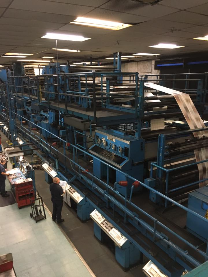 Some staffers went to see the big blue printing presses at The Orange County Register last week, and reporter Theresa Walker posted this on Facebook. The presses will be moved, along with the rest of the paper, as the new owner consolidates interests in Southern California.  (Photo courtesy of Theresa Walker )