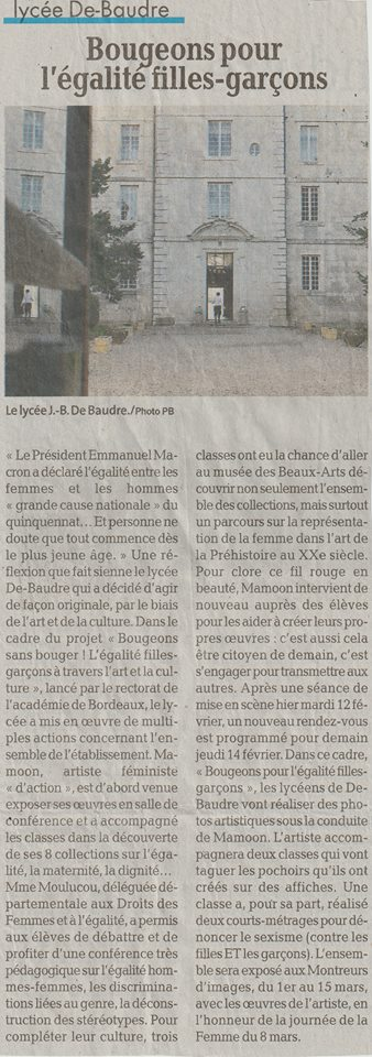 Bougeons, Egalité filles-Garçons au Lycée Jean Baptiste De Baudre.