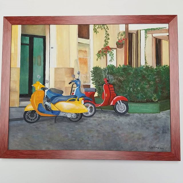 Vespa, oil on canvas by A. Carlone.  the red gelato frame accents this Vespa Trio with bold confidence. The cobblestone alley awaits. #vespa🇮🇹 #gelato #italy #studyabroad #loveyourwalls #lynartframing