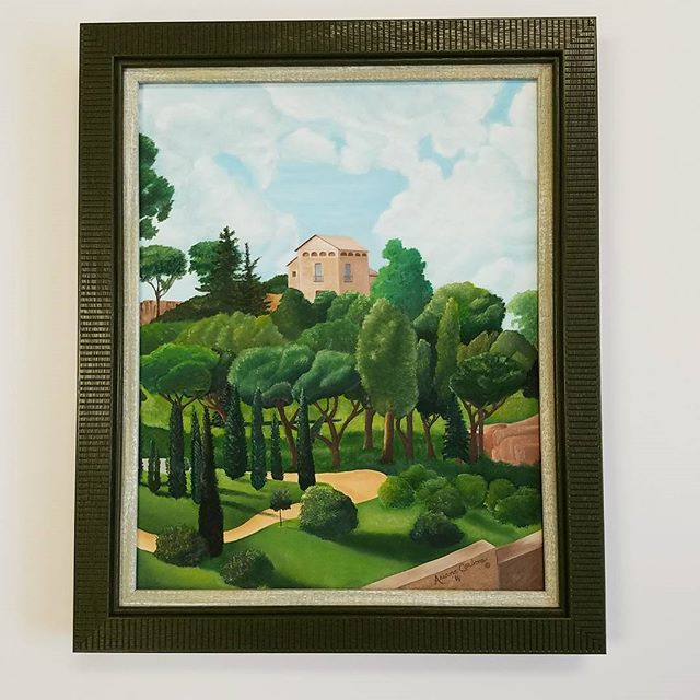 Lush Italian greens line a picturesque walkway, olive gardens are awaiting ahead.  The frame is a double wood, the inner is washed and serves as a filet, by A. Carlone.#art #canvaspainting #italy #olivegarden #loveyourwalls #lynartframing