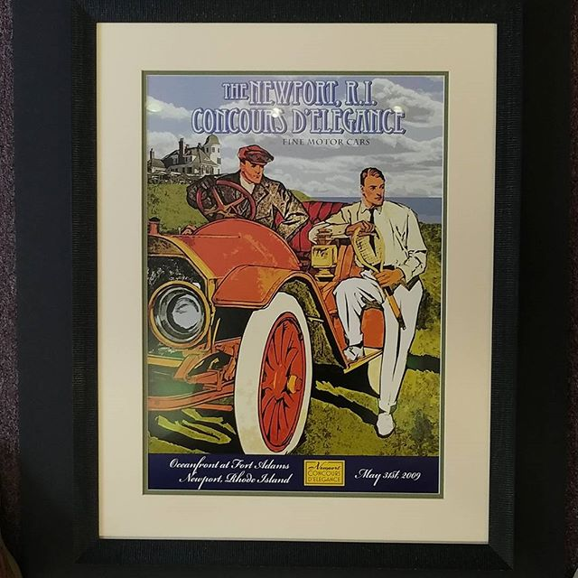 This beautifully framed print from the 30's, combines a subtle dash of color with a double mat.  The solid maple black frame outlines perfectly, available at Lynart Studio's. #loveyourwalls #retro #artforsale #concours #lynartframing