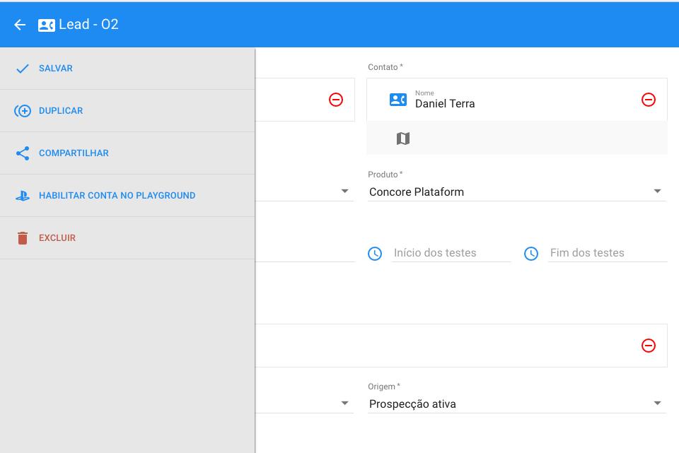 Visualização de molécula apresenta o user flow cadastrado anteriormente no menu lateral.