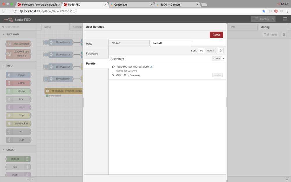 Agora é possível instalar os nós do concore diretamente na interface do node-red.