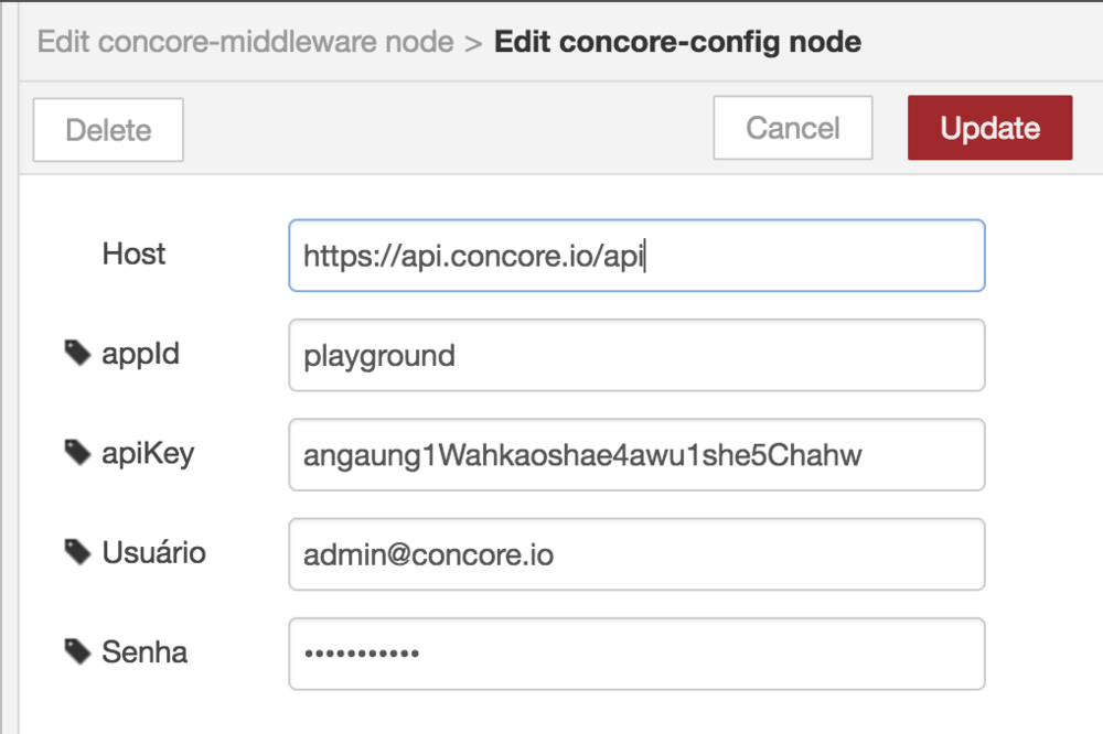 Configurações para o nó de middleware da concore