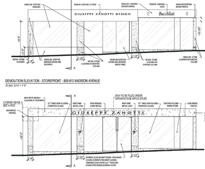 Existing & proposed storefront drawing