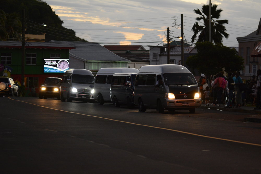 Sundown in St.Vincent at the Peace Memorial Hall Van Terminal
