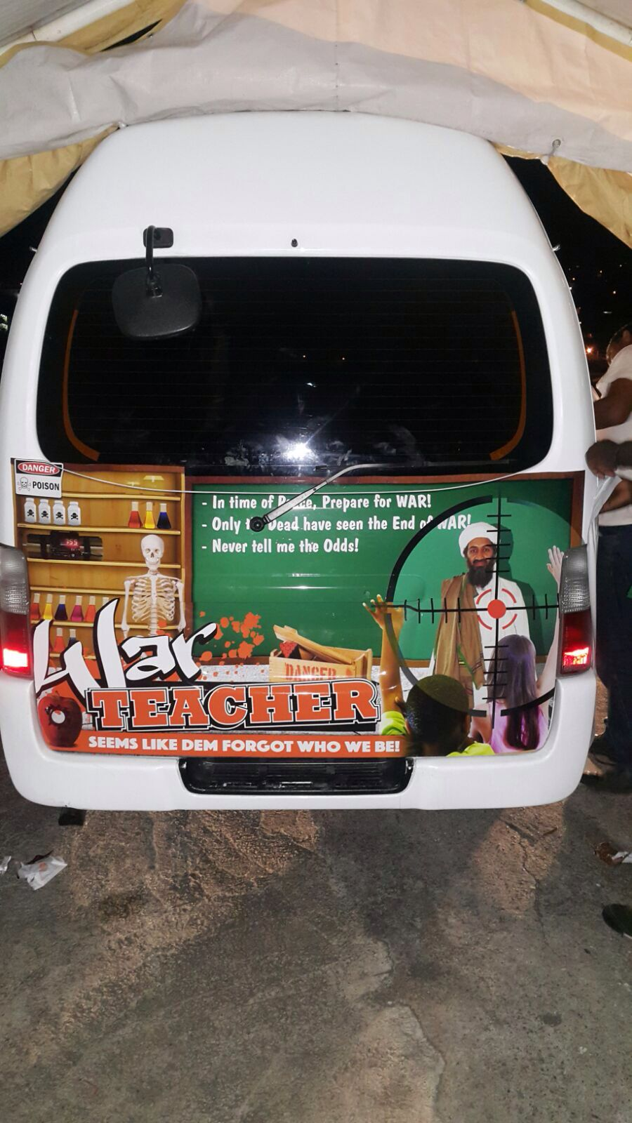"A controversial image on a van of Osama Bin Laden - The driver was asked to take it off after having complaints about the image. The driver explained that he did not advocate Osama Bin Laden's doctrine , but more so just commented that he was "" Hard to Kill "" and he thought it was worth mentioning. Picture Courtesy of Mickel Carr."