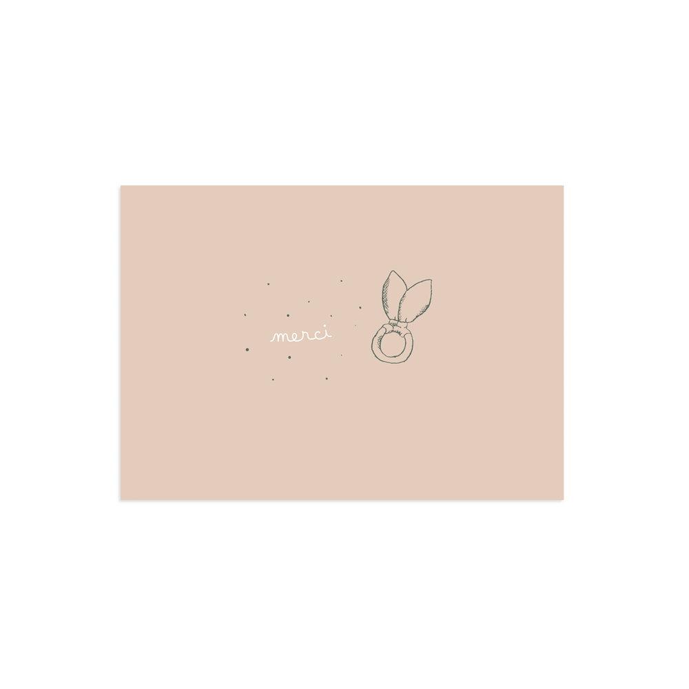 Carte de remerciement Polisson rose