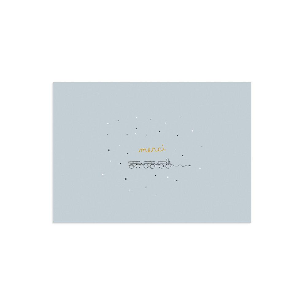 Carte de remerciement Polisson bleu