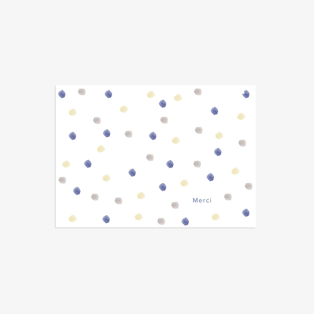 Carte de remerciement Confetti bleu