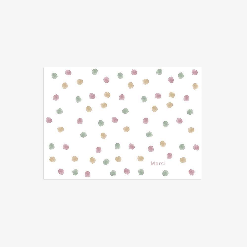 Carte de remerciement Confetti rose