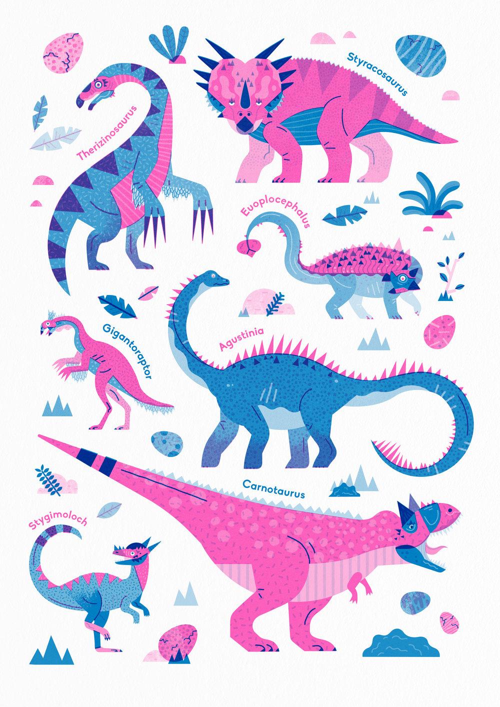 Crazy Cretaceous Creatures Dinosaur riso print