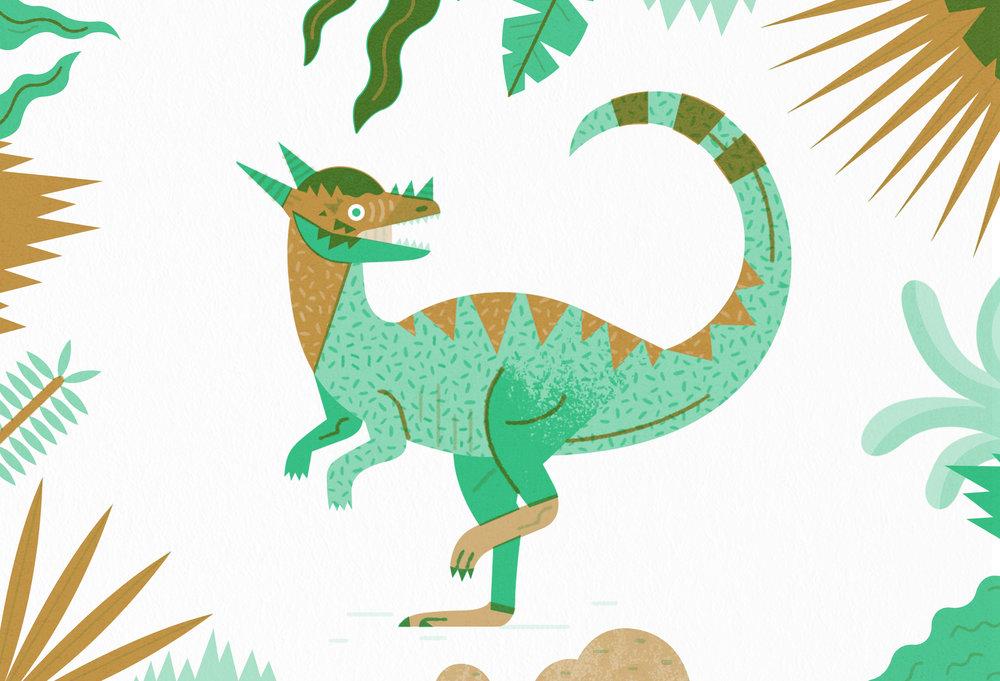 Stygimoloch illustration - Dinosaur riso print