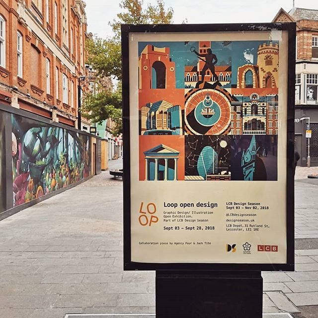 My collab with @agencyfour for @loop_design_exhibition spotted on a walk through town. Head down to the @lcbdepot to see this awesome exhibition! . . . #illustration #illustrate #digitalillustration #digitalart #leicester #exhibition #photoshop #texture #creative #vector #digitalart #architecture #city #lcbdepot #art #shadows