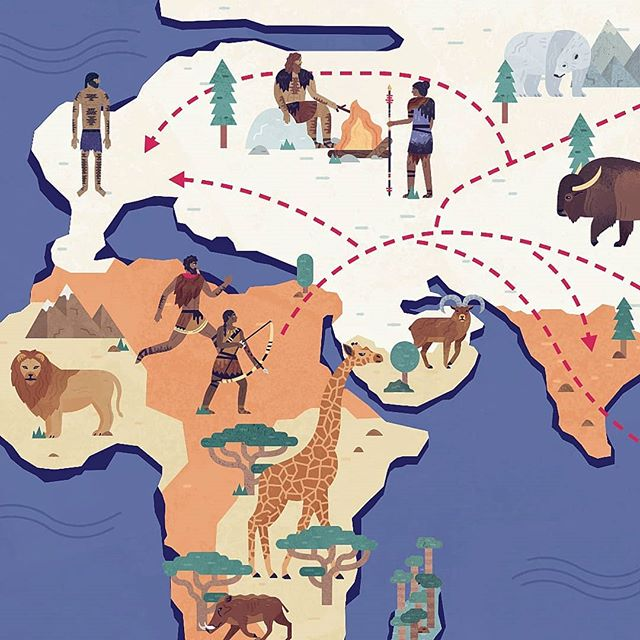 2 days to go! This sneak peek is from a map of early human migration in Mega Meltdown, out 4th October in the UK ❄ Link in bio. . . . #nonfiction #map #iceage #africa #childrensbook #animals #wildlife #naturalhistory #illustration #illustrate #digitalillustration #digitalart #photoshop #texture #design #gfxmob #creative #publishing #bookstagram #illustrations #books #kidlit #instaart #lion #bison #giraffe #illustrator