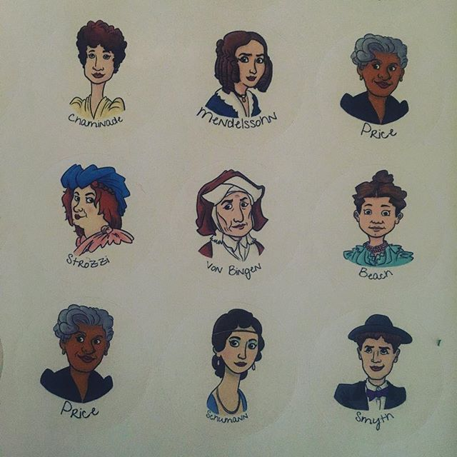 LOVING these stickers from @dynamicdoodleshop !!! Thanks for helping me make my project unique! #femalecomposers #musichistory