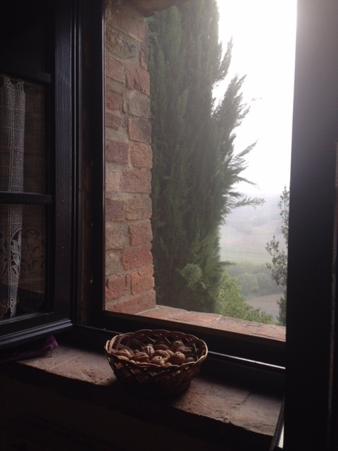 View over the valley toward Pienza from the kitchen window at Cretaiole