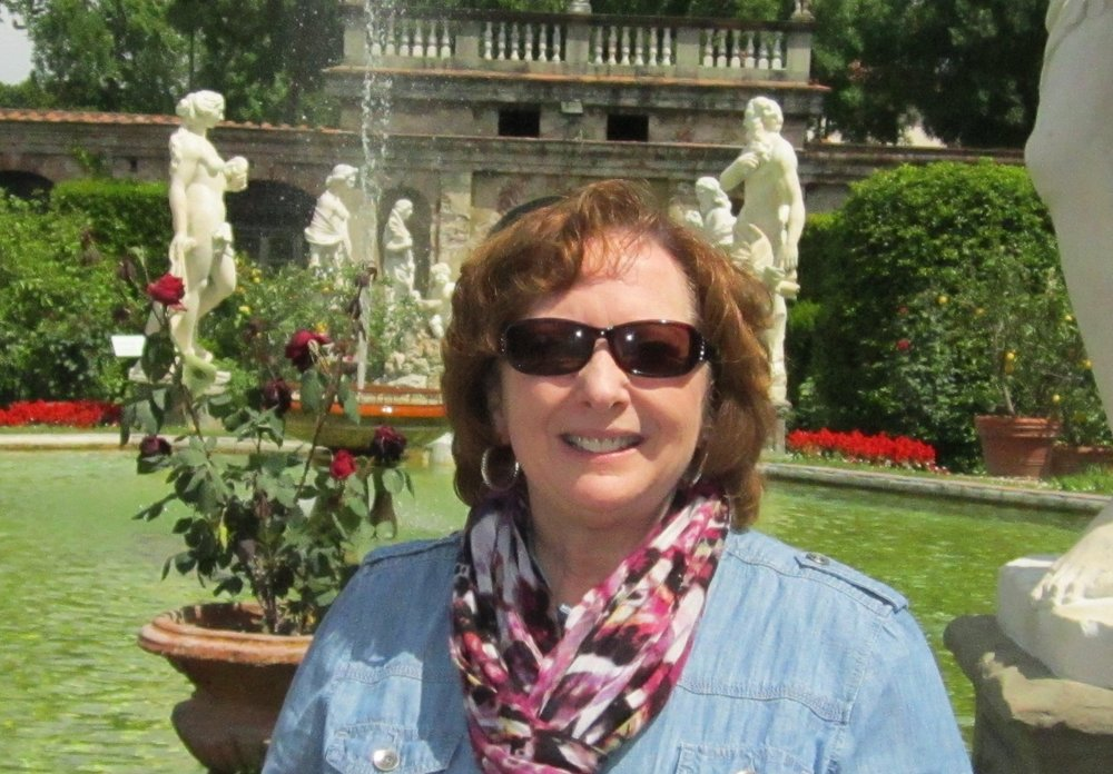 Joanne in the garden of Palazzo Pfanner, Lucca, Italy