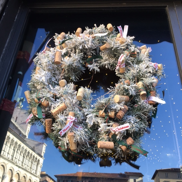 Yep, it's the window of a wine shop, Lucca, December 2016.