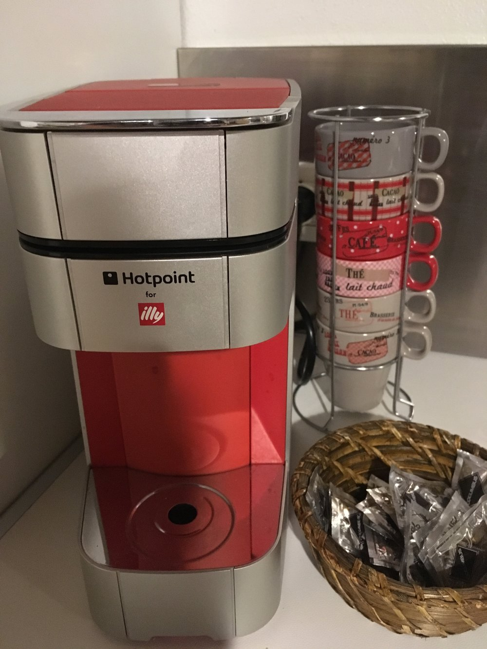One of several options for brewing coffee in the apartment. There were also two Mokas and an American-style electric drip coffeemaker.