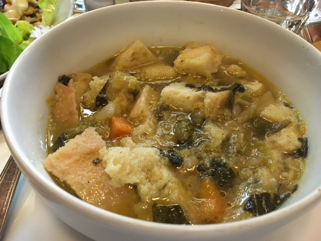 A bowl of ribollita, a zuppa that makes good use of leftover bread, from the restaurant Antica Drogheria in Lucca, Italy