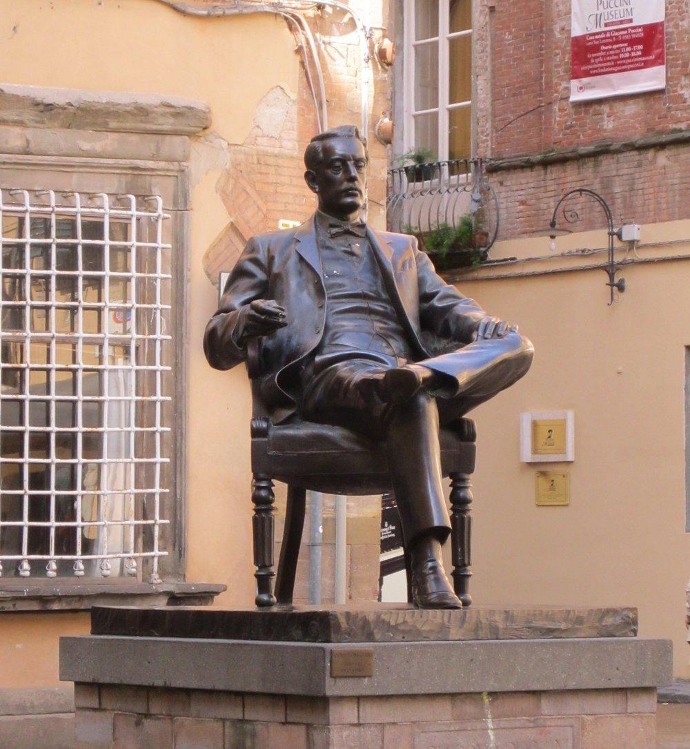 Statue of Giacomo Puccini in Piazza Cittadella, Lucca.