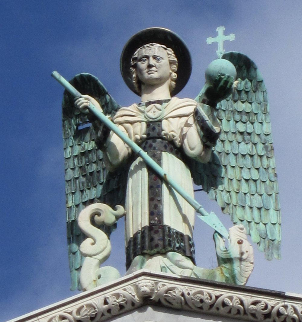 The Archangel Michael (Michele in Italian) high atop the basilica that bears his name.