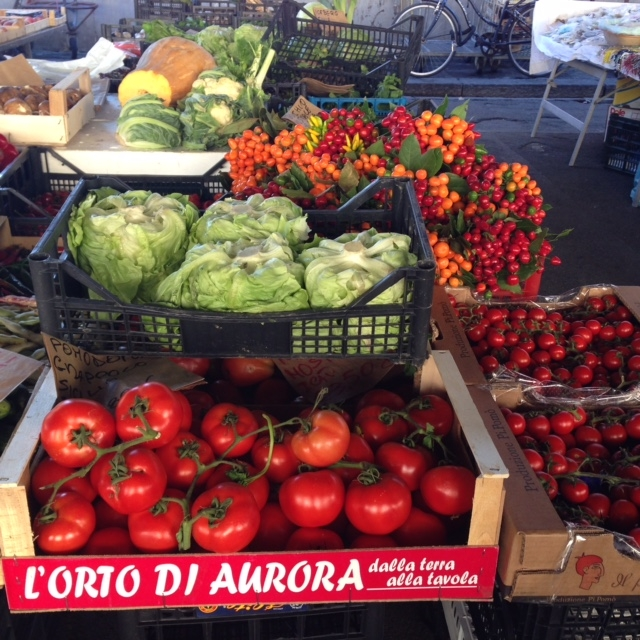 A vibrant selection of vegetables in the mercato.