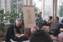 Drawing in the solarium*