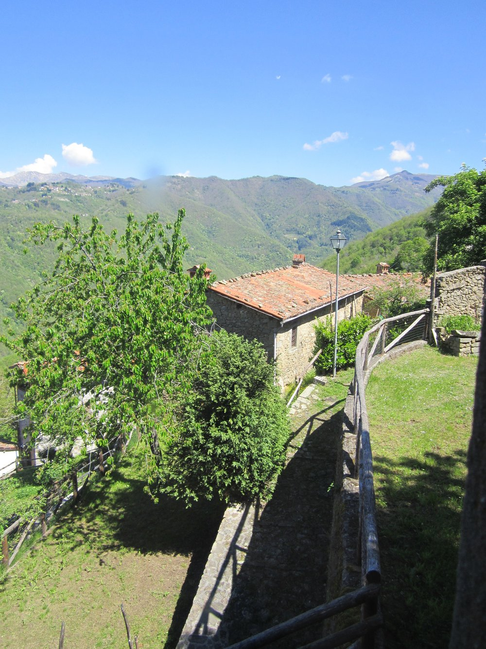 The green hillsides of the Garfagnana in spring as seen from the town of Sillico, 2012.