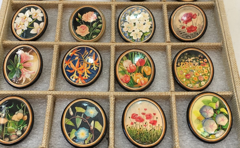 Hand-painted terra cotta pins