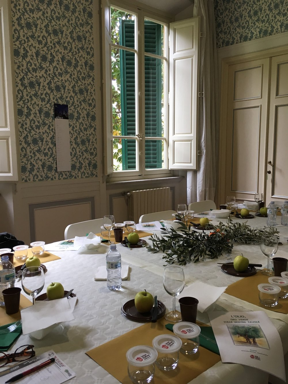 The table is set for olive oil tasting.