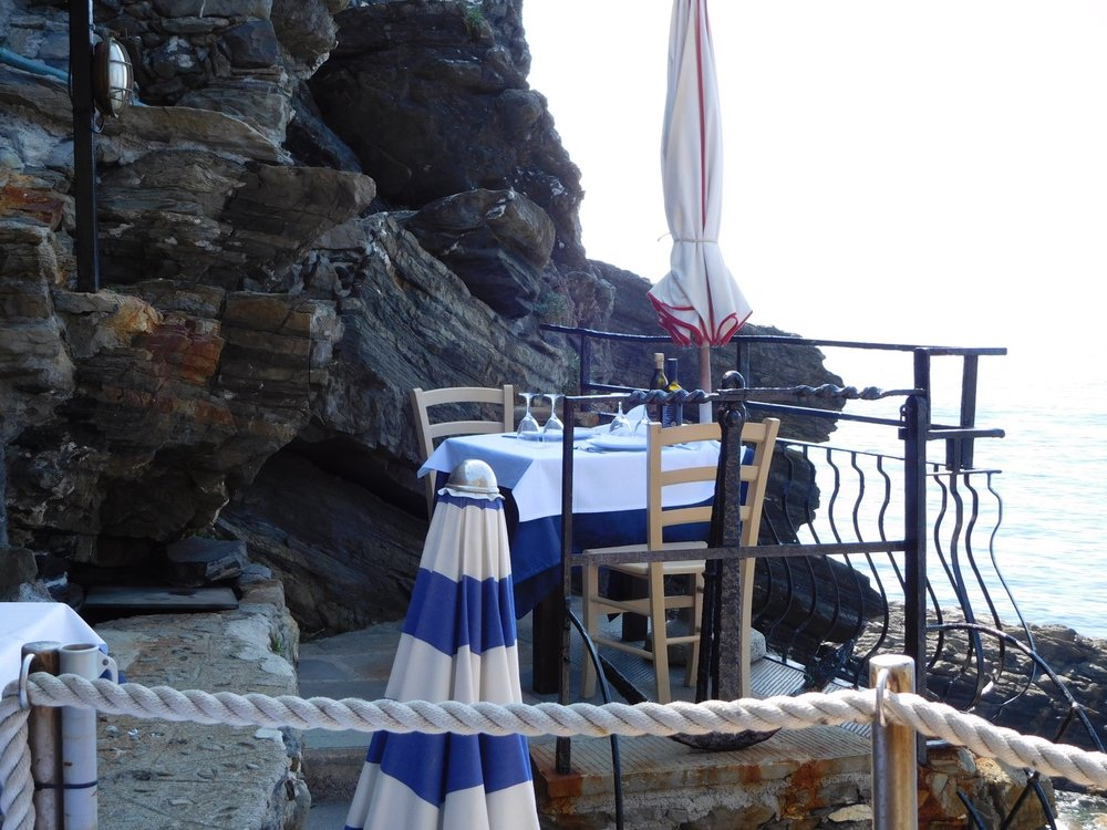 A table with a view at the Belforte restaurant in Vernazza, Italy