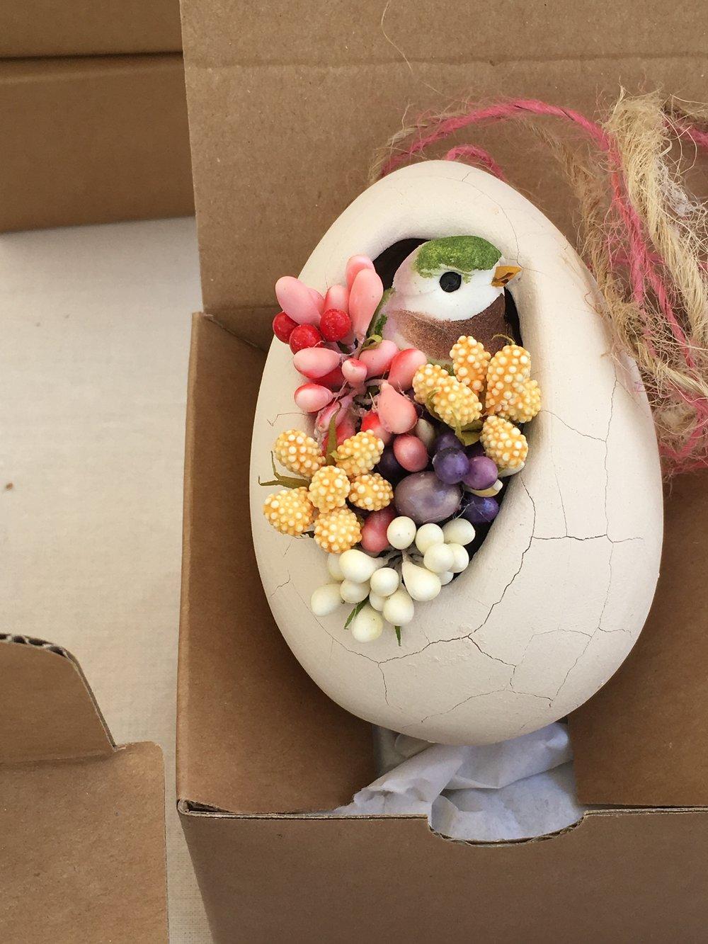 Handcrafted ceramic egg.