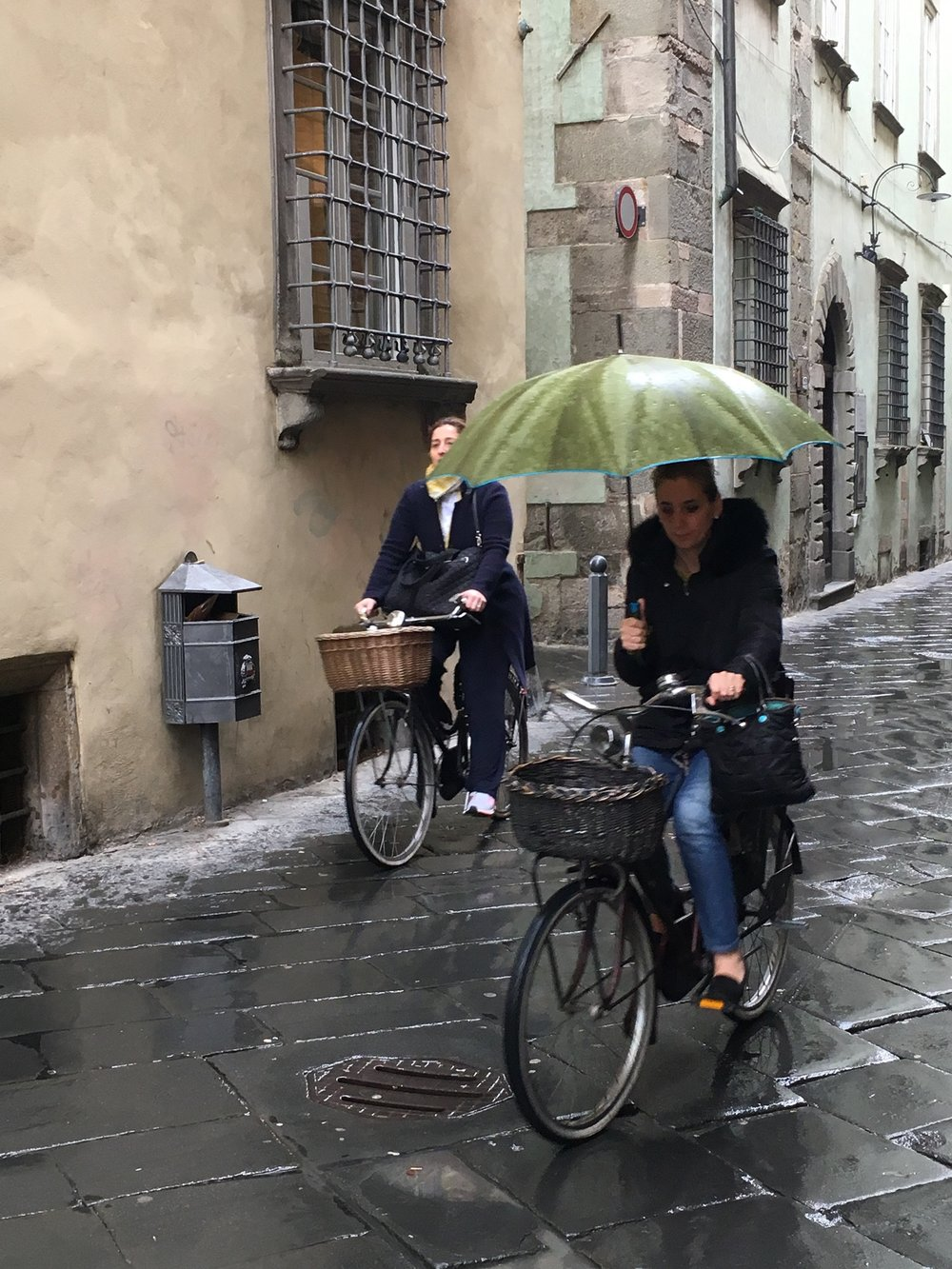 Bicycles, a common form of transportation, don't stop for the rain.