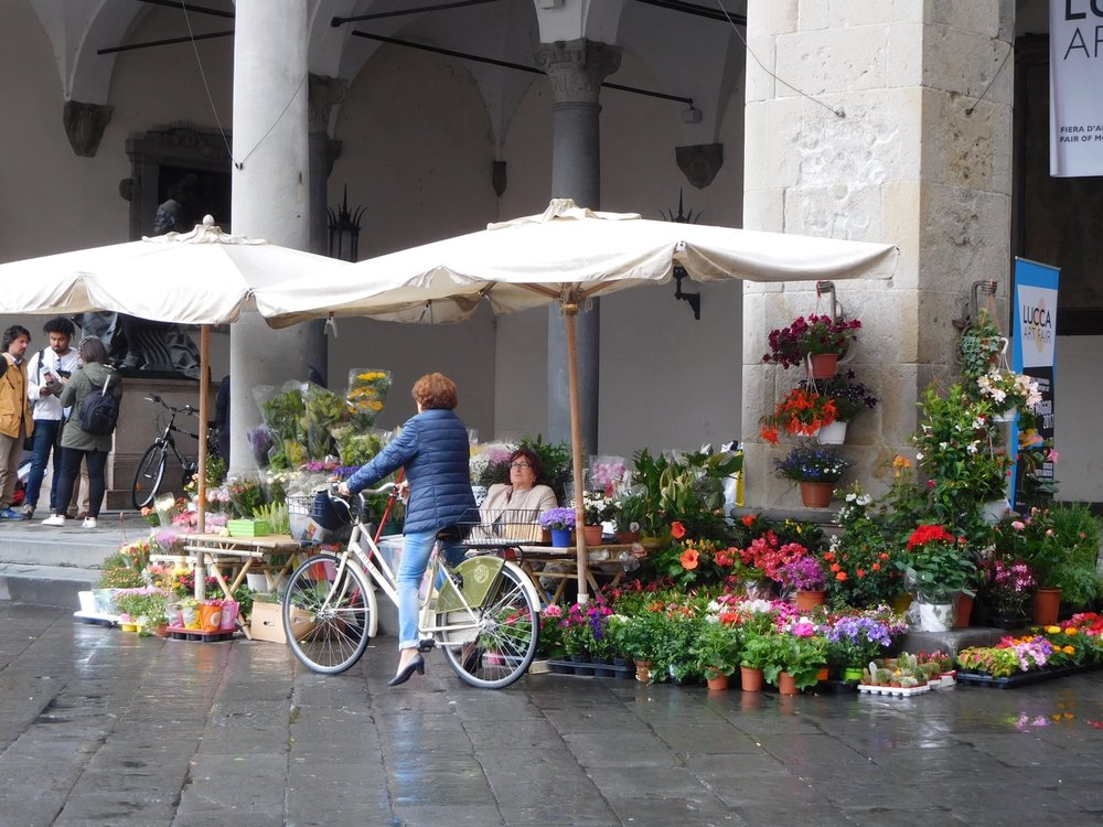 And the flower market continues under  ombrellones  (big umbrellas).