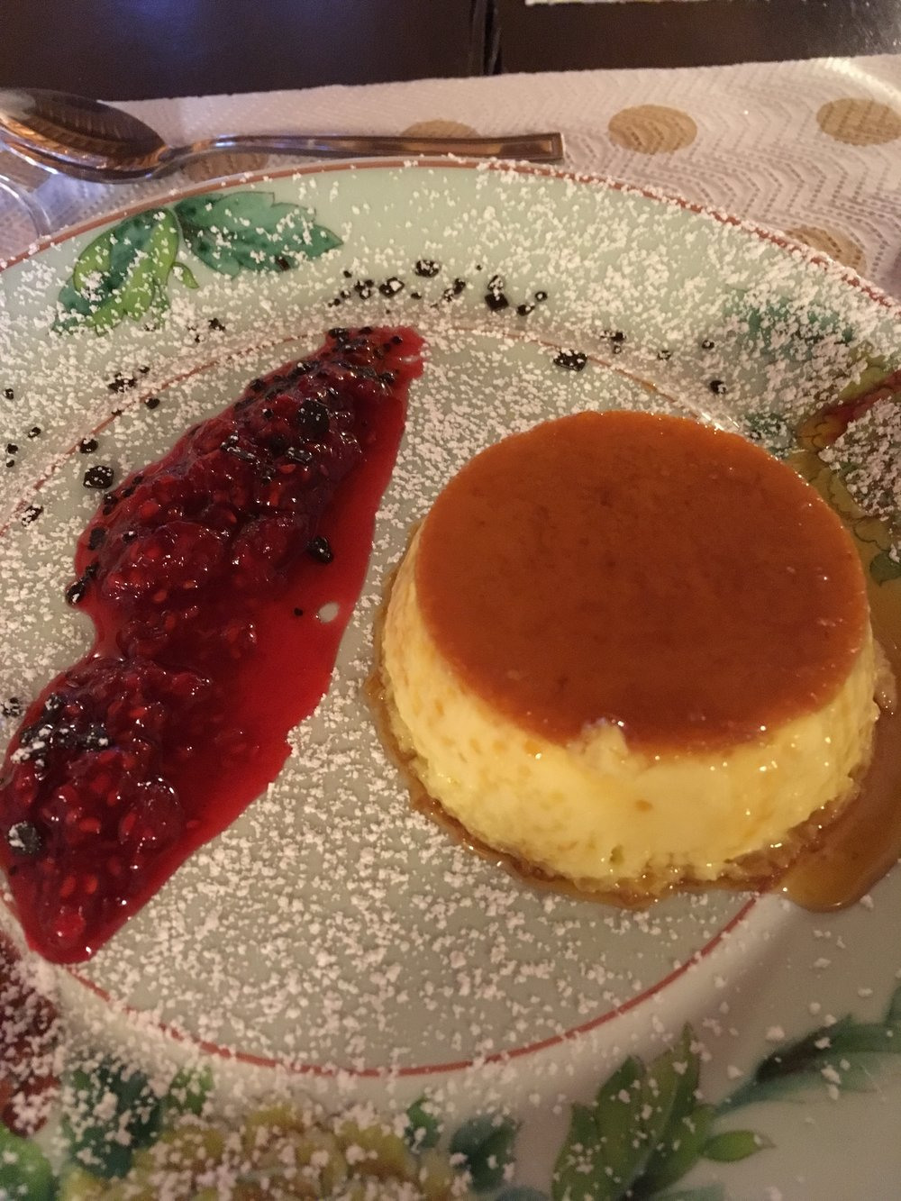 Creme Caramel with a berry sauce