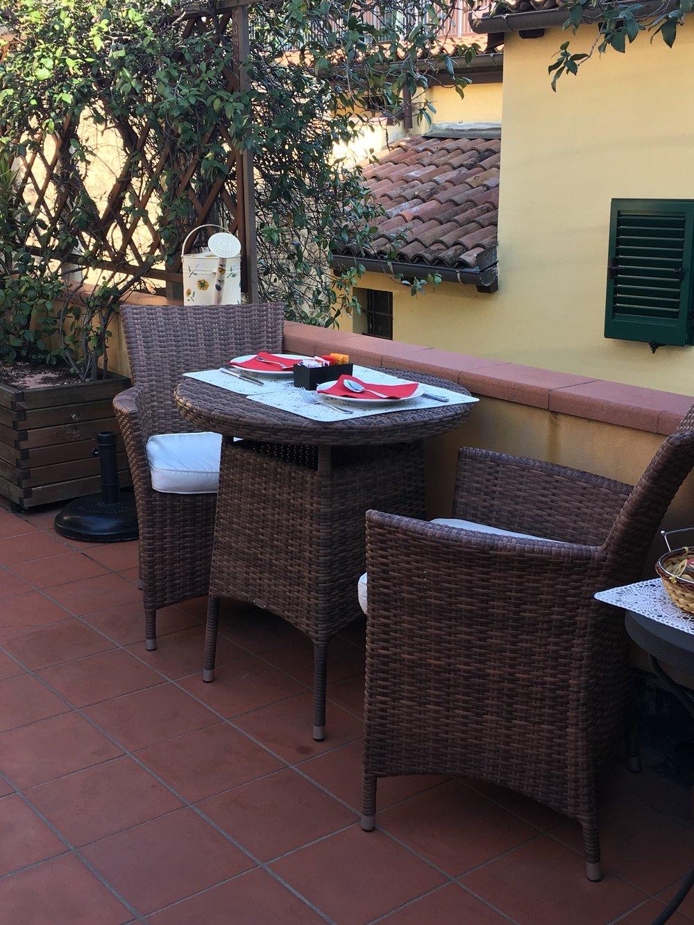 Breakfast terrace at the B&B
