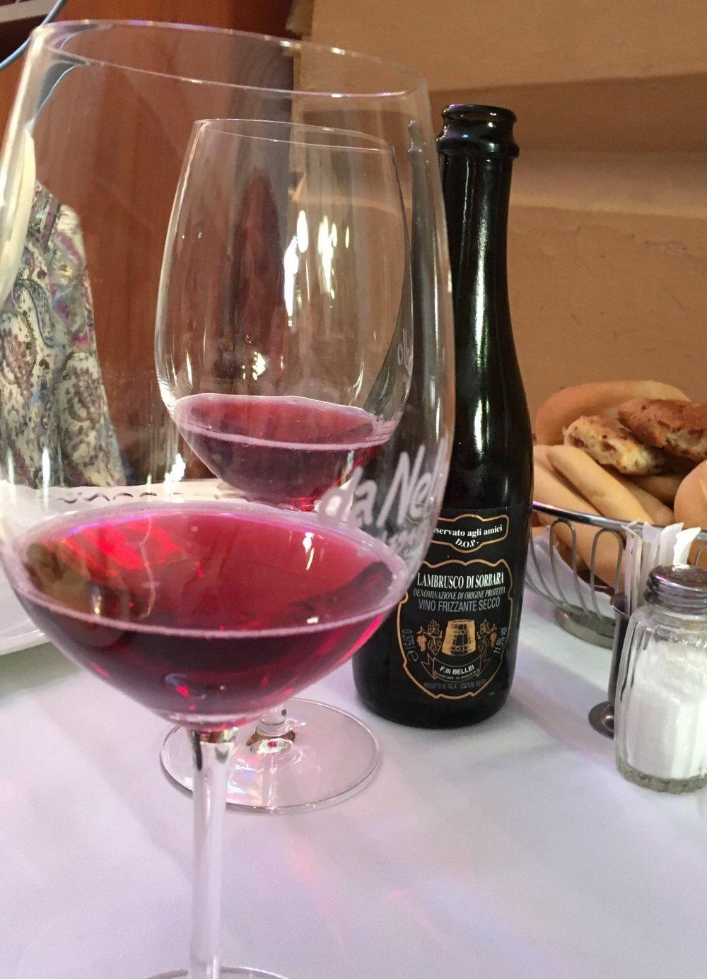 """A local Lambrusco wine at Ristorante """"da Nello"""""""