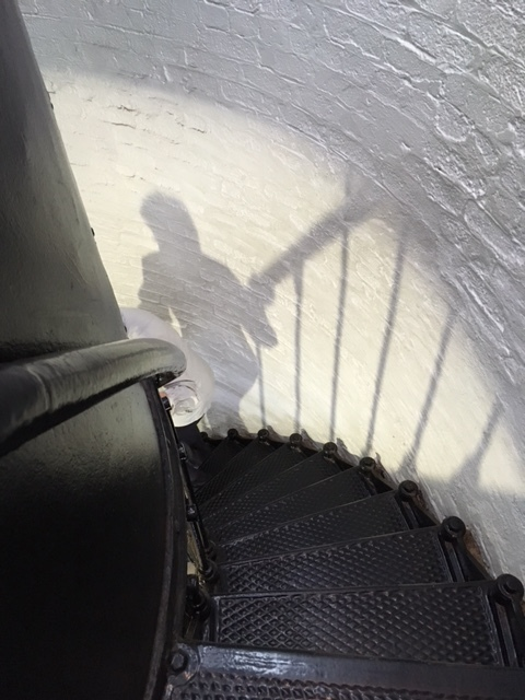 Climbing the lighthouse steps