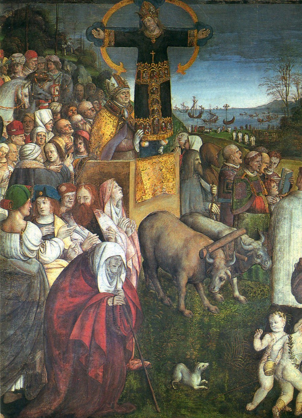 This painting, in the church of San Frediano, depicts the arrival of the Volto Santo, in an ox drawn cart, to Lucca.